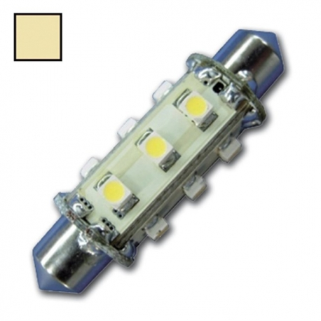 LED Festoon 10-30V / 1,2W warm wit 12 LEDS 42 mm